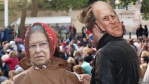 Two people wearing royal masks