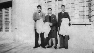 This early 1950s picture released by journalist Sergio Rubin, shows Jorge Mario Bergoglio, right, posing with unidentified schoolmates of a preparatory school in Buenos Aires, Argentina.