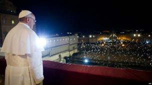 Argentina's Jorge Bergoglio, elected Pope Francis, appearing at the window of St Peter's Basilica's balcony after being elected the 266th pope of the Roman Catholic Church