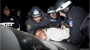 A man is arrested at a protest