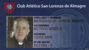 The membership card of Argentine Cardinal Jorge Bergoglio from the San Lorenzo de Almagro football club, of which he is known to be a fan