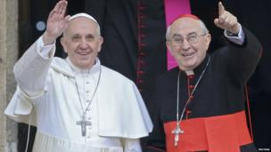 Pope Francis after his first private prayer (14 March 2013)