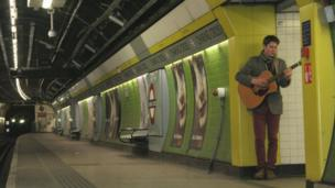 Danny Leigh practises for his audition on a deserted platform