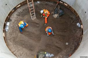 Unearthed bodies believed to date from the time of the Black Death