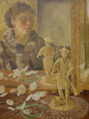 Self portrait at dressing table by Elsi Eldridge, 1935, Private Collection