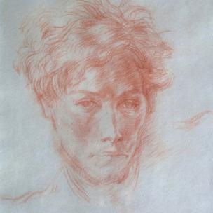 Detail of RS Thomas study by Elsi Eldridge, 1940, Private Collection