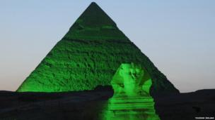 The Sphinx and a pyramid