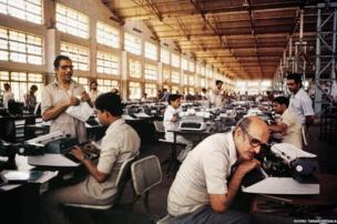 Godrej typewriter factory, Bombay, 1984 by Sooni Taraporevala