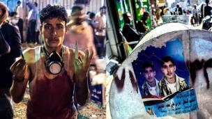 Faris Ali Mohammed al-Qadeemi holds up shell casings after soldiers fired on unarmed protesters. On the right, a picture commemorating his death in a similar incident months later