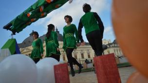 Irish dancers on stage for St Patrick's Day in Vilnius, Lithuania