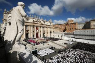 St Peter's Square at the Vatican during Pope Francis' inaugural Mass