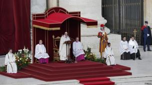 Pope Francis delivers his homily at his inaugural Mass in St Peter's Square at the Vatican