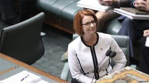 Australian Prime Minister Julia Gillard during House of Representatives question time