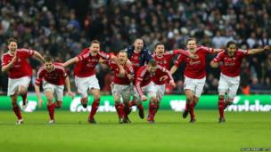 Wrexham players celebrate winning the FA Trophy