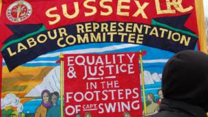 Labour poster at University of Sussex protest