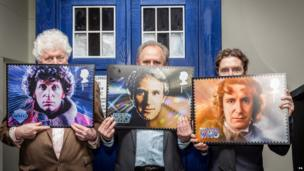 Peter Davison, Tom Baker and Paul McGann with their stamps