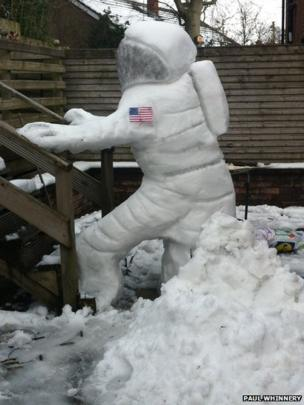 To boldly go... Paul Whinnery fashioned this astronaut out of the March snow