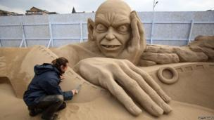 Sand sculpture of Gollum from Lord of the Rings