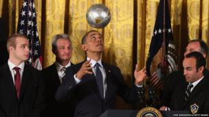US President Barack Obama headed a ball whilst hosting a ceremony at the White House