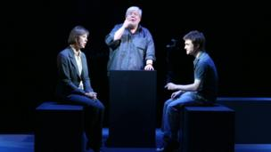 Richard Griffiths with Equus co-stars Daniel Radcliffe and Jenny Agutter