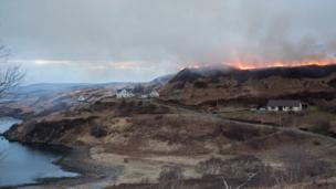 Wildfire near Fiskavaig on the Isle of Skye.