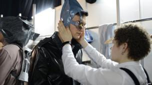 Model at Mercedes-Benz Fashion Week (1 April 2013)