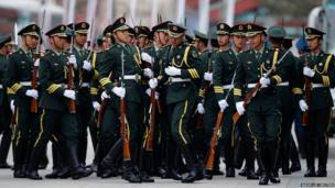 Chinese soldiers line up before a welcome ceremony