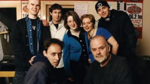 Sub City Radio Team - the winners of the Radio 1 1996 Student Radio Awards with Lamacq and John Peel