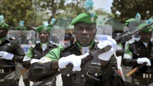 Nigerian police perform at a ceremony in Mogadishu, Somalia, on 9 April 2013