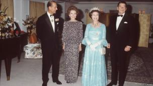 The Queen And Prince Philip with President Ronald Reagan and Nancy Reagan
