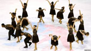 Team South Africa performs during the free skating competition of the ISU World Synchronized Skating Championships at Agganis Arena on 6 April 2013 in Boston, Massachusetts in the US