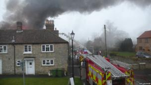 Fire at a butcher's shop in North Yorkshire. Photo: Gary Wilshaw
