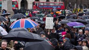 Campaigners in Trafalgar Square. Photo: Chris Beckett