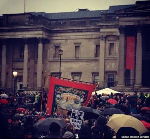 Protesters outside the National Gallery. Photo: Sarah Jessica Leivers