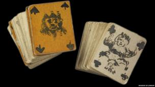 Set of playing cards made in Holloway Gaol by the suffragette prisoner