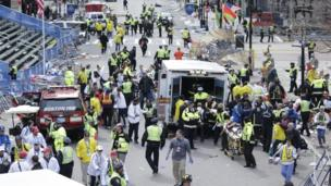 Medical workers on the scene in Boston, 15 April 2013