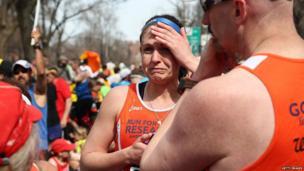 Runners at Boston Marathon, 15 April 2013