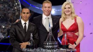 Lewis Hamilton (left), Chris Hoy (centre) and Rebecca Adlington