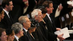 Former Prime Ministers Tony Blair, Sir John Major and Prime Minister David Cameron attend the funeral service
