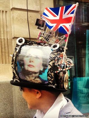 A woman shows her support for Baroness Thatcher, including some with unusual headwear. Photo: Instagram/gzdkuyumcu