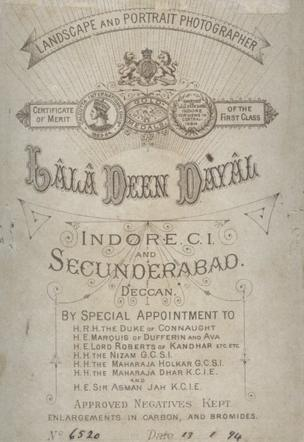 Back of Cabinet Card from Indore Studio, 13 January