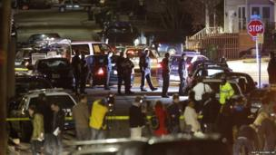 Police work a crime scene in Watertown