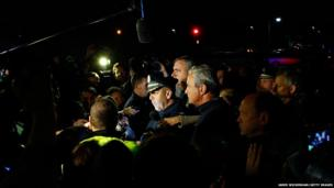 Boston Police Commissioner Edward Davis speaks during a media briefing in the parking lot of the Watertown Mall
