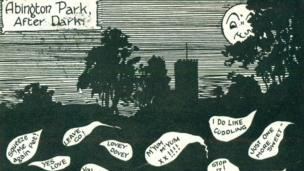 A comic-style postcard about the park at night