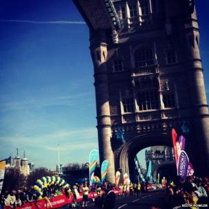 Runners cross Tower Bridge. Photo Keith Fowler