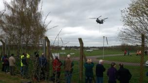 The RAF Chinook arrives ready to collect its cargo