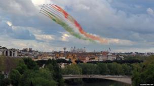 The Frecce Tricolori fly over the Altare della Patria (The tomb of the Unknown Soldier) in Rome