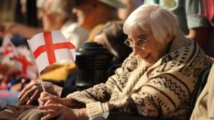 A lady with a St. George's flag