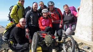 Karen Darke and her team at the summit