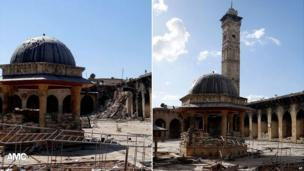 Composite image of the minaret in Aleppo as it was and after its destruction